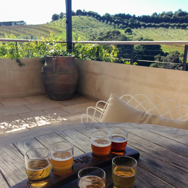 Alibi beer tasting at Tantalus Estate Vineyard on Waiheke Island
