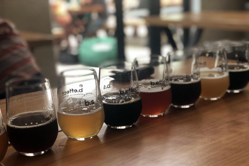 Beer tasting at b.effect in Wanaka