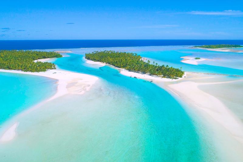 Aerial view of One Foot Island, Aitutaki.