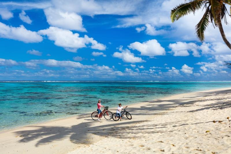 Bikes on the beachfront in Rarotonga, Cook Islands